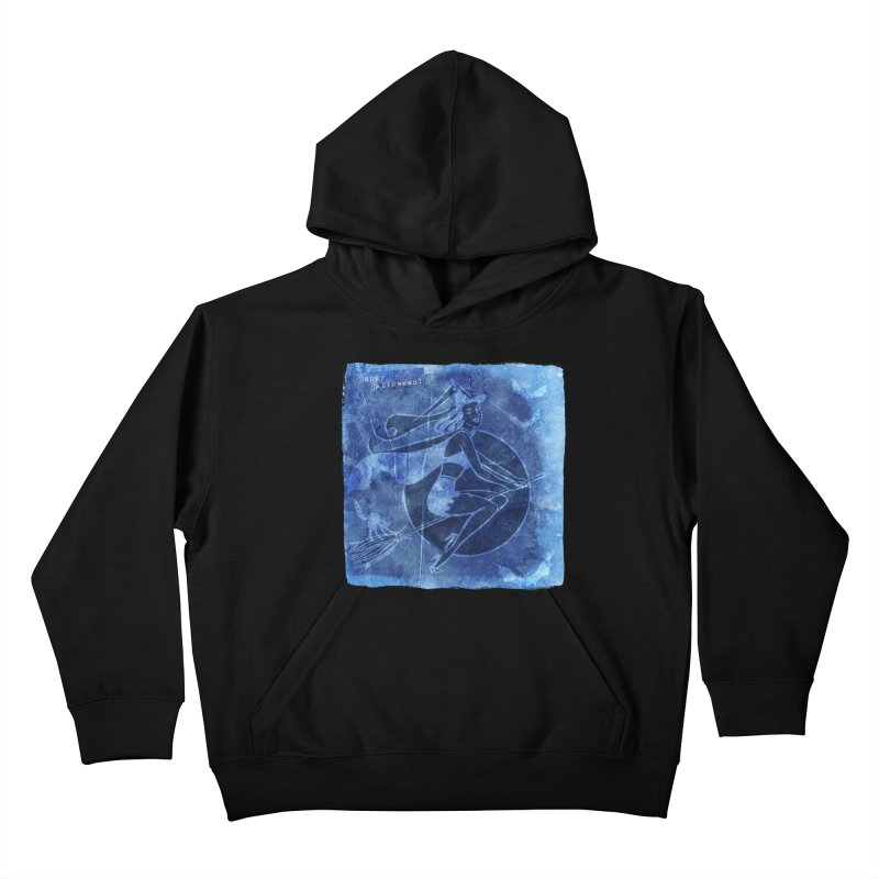 Happy Halloween Broom Riding Witch In Boo Blue! Kids Pullover Hoody by Maryheartworks's Artist Shop