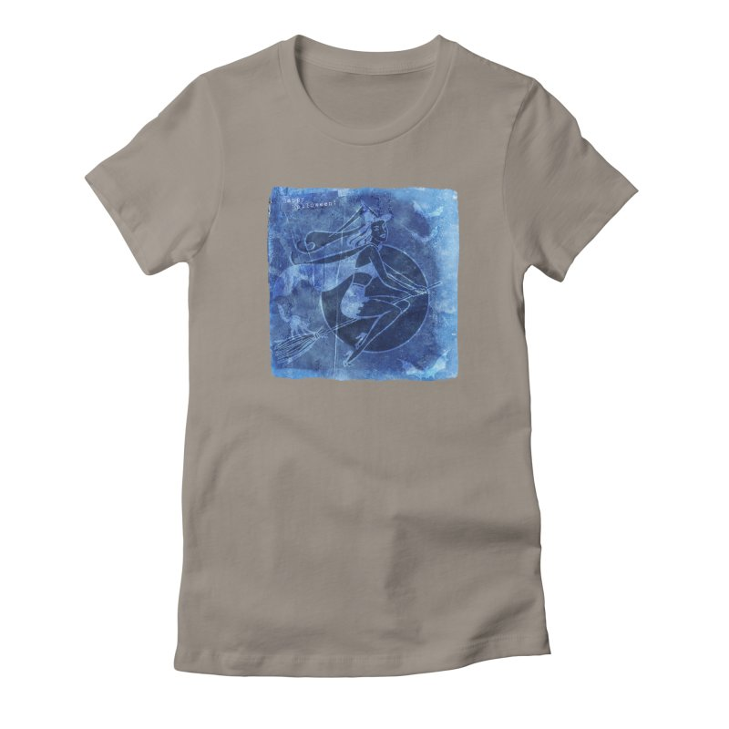Happy Halloween Broom Riding Witch In Boo Blue! Women's Fitted T-Shirt by Maryheartworks's Artist Shop