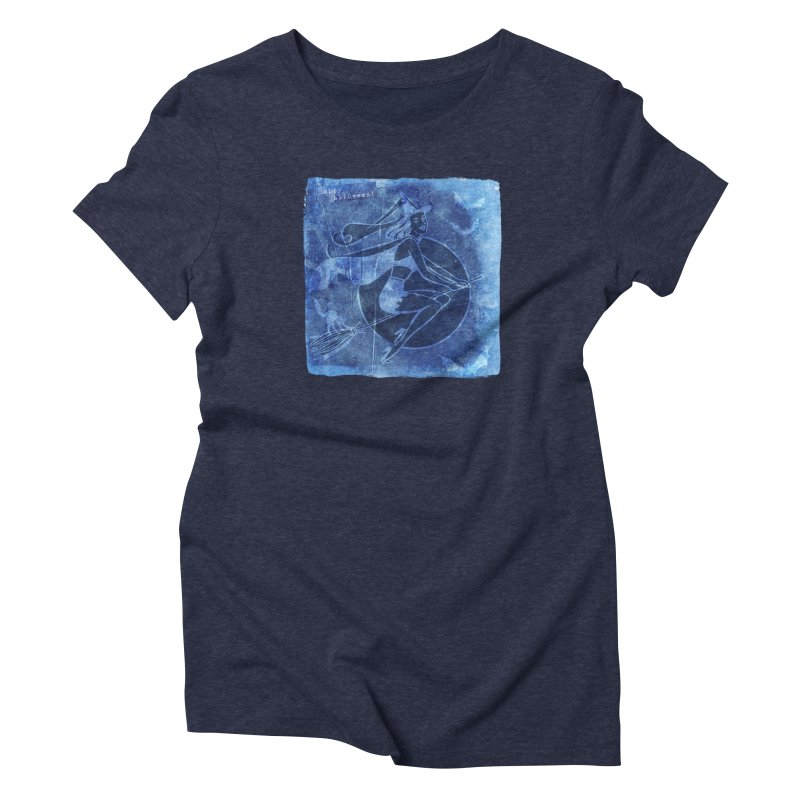 Happy Halloween Broom Riding Witch In Boo Blue! Women's Triblend T-Shirt by Maryheartworks's Artist Shop