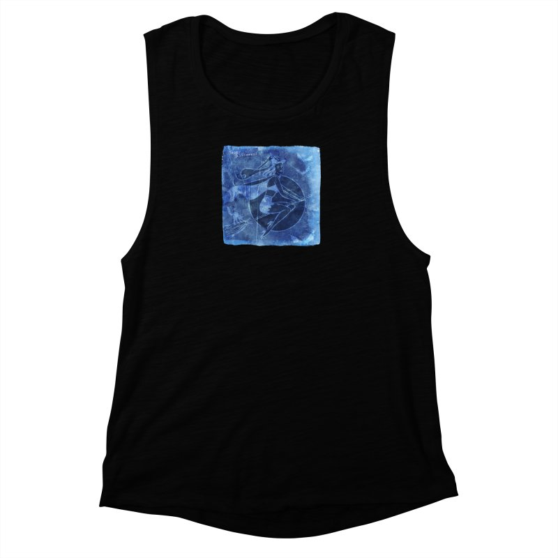 Happy Halloween Broom Riding Witch In Boo Blue! Women's Muscle Tank by Maryheartworks's Artist Shop