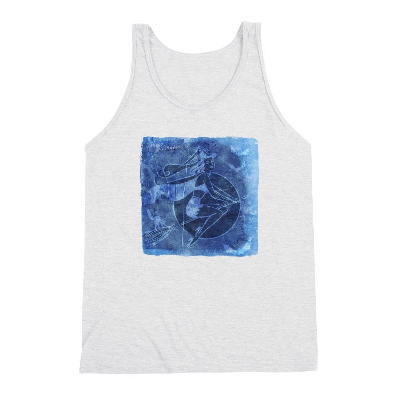 Happy Halloween Broom Riding Witch In Boo Blue! Men's Triblend Tank by Maryheartworks's Artist Shop