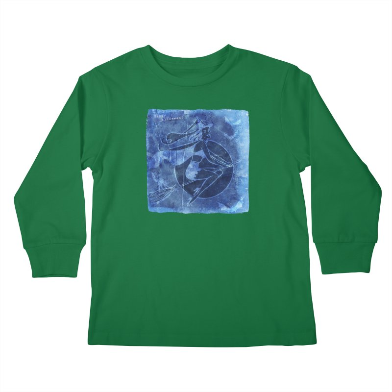 Happy Halloween Broom Riding Witch In Boo Blue! Kids Longsleeve T-Shirt by Maryheartworks's Artist Shop