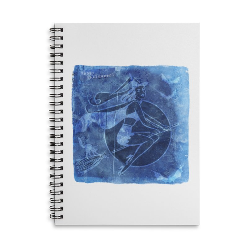 Happy Halloween Broom Riding Witch In Boo Blue! Accessories Lined Spiral Notebook by Maryheartworks's Artist Shop