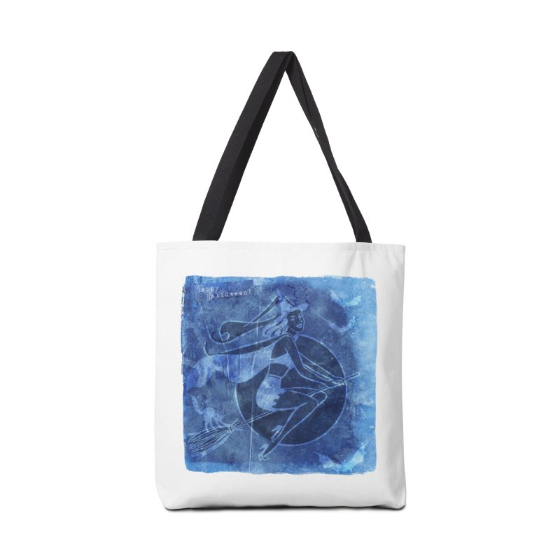 Happy Halloween Broom Riding Witch In Boo Blue! Accessories Tote Bag Bag by Maryheartworks's Artist Shop