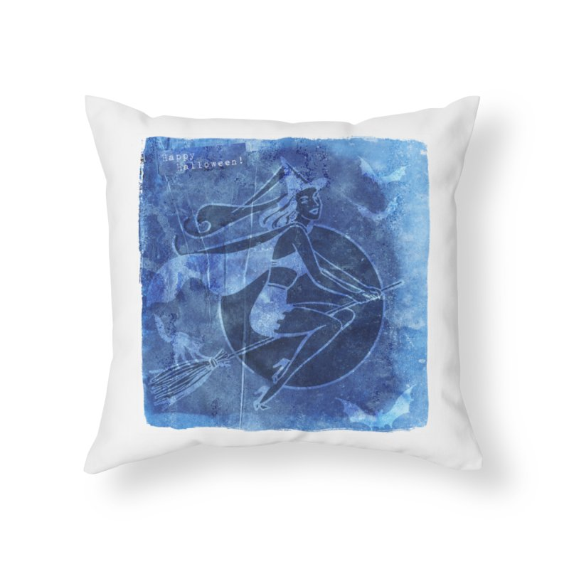 Happy Halloween Broom Riding Witch In Boo Blue! Home Throw Pillow by Maryheartworks's Artist Shop
