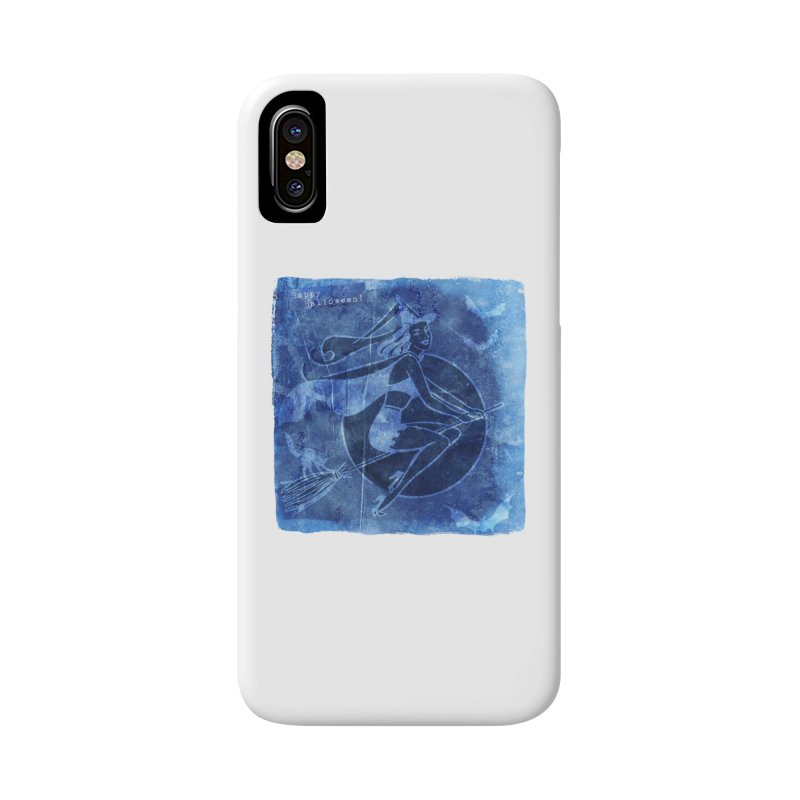 Happy Halloween Broom Riding Witch In Boo Blue! Accessories Phone Case by Maryheartworks's Artist Shop