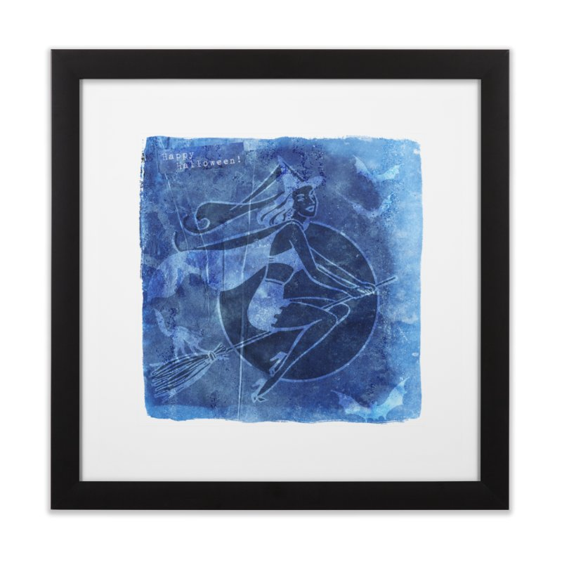 Happy Halloween Broom Riding Witch In Boo Blue! Home Framed Fine Art Print by Maryheartworks's Artist Shop