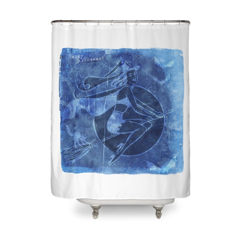 Happy Halloween Broom Riding Witch In Boo Blue! Home Shower Curtain by Maryheartworks's Artist Shop