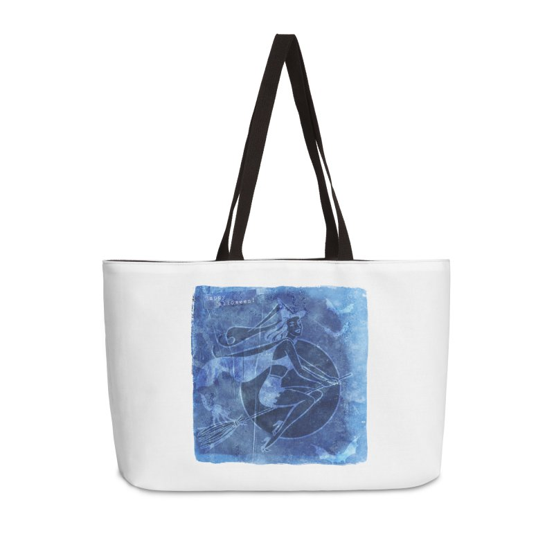 Happy Halloween Broom Riding Witch In Boo Blue! Accessories Weekender Bag Bag by Maryheartworks's Artist Shop
