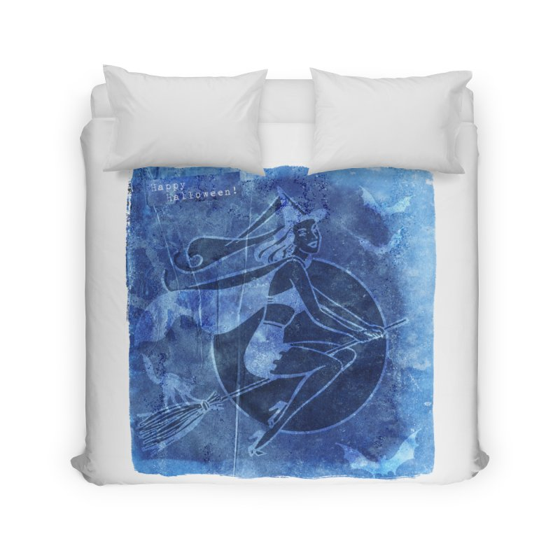 Happy Halloween Broom Riding Witch In Boo Blue! Home Duvet by Maryheartworks's Artist Shop