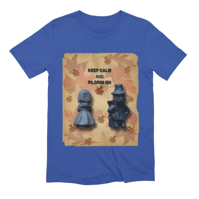Keep Calm And Pilgrim On Men's Extra Soft T-Shirt by Maryheartworks's Artist Shop