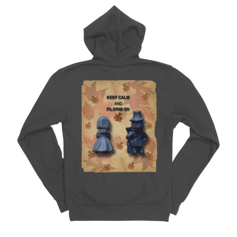 Keep Calm And Pilgrim On Men's Sponge Fleece Zip-Up Hoody by Maryheartworks's Artist Shop