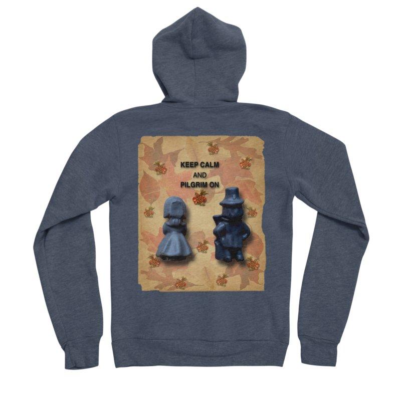 Keep Calm And Pilgrim On Women's Sponge Fleece Zip-Up Hoody by Maryheartworks's Artist Shop