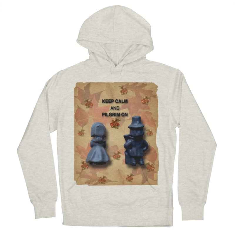 Keep Calm And Pilgrim On Men's French Terry Pullover Hoody by Maryheartworks's Artist Shop