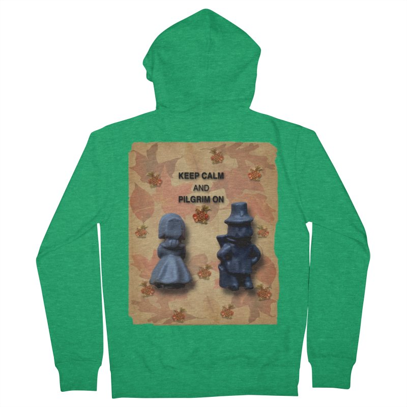 Keep Calm And Pilgrim On Men's Zip-Up Hoody by Maryheartworks's Artist Shop