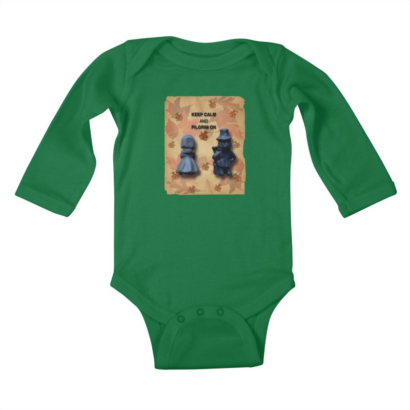 Keep Calm And Pilgrim On Kids Baby Longsleeve Bodysuit by Maryheartworks's Artist Shop