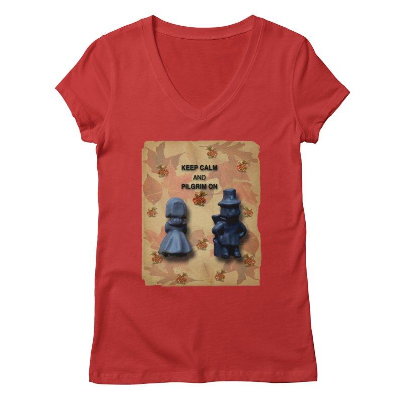Keep Calm And Pilgrim On Women's Regular V-Neck by Maryheartworks's Artist Shop
