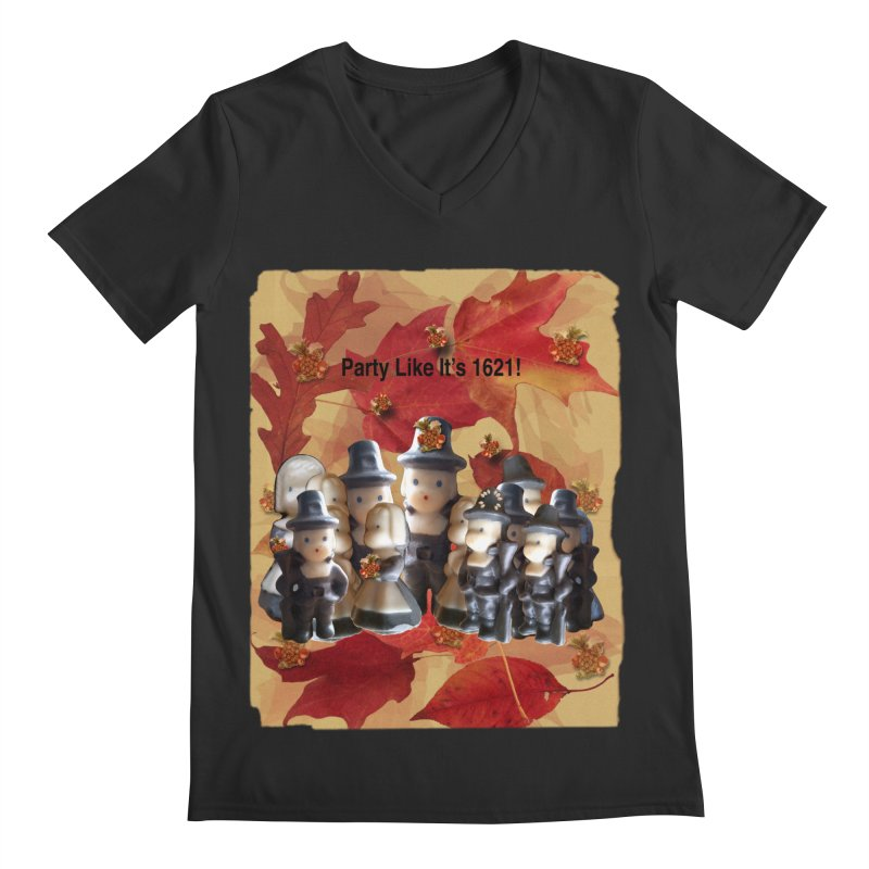 Party Like It's 1621! Men's Regular V-Neck by Maryheartworks's Artist Shop