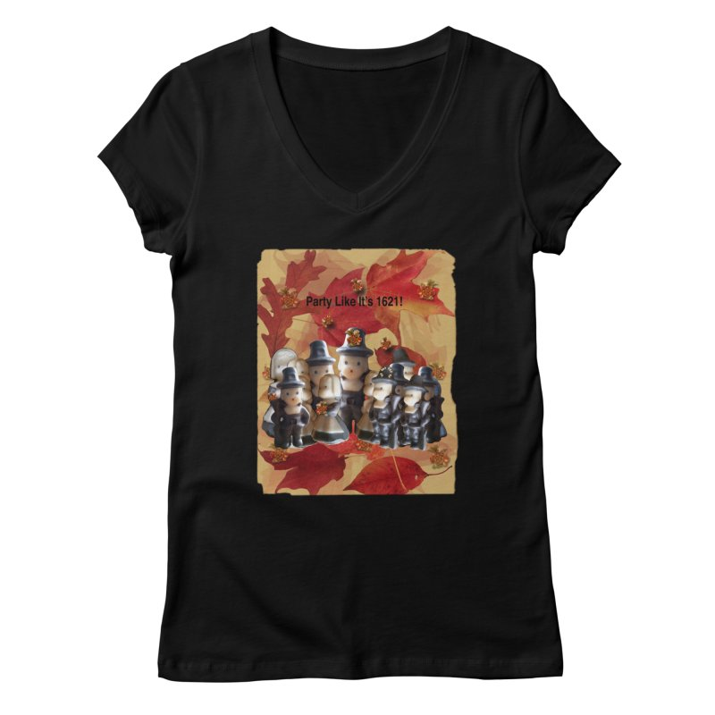 Party Like It's 1621! Women's V-Neck by Maryheartworks's Artist Shop