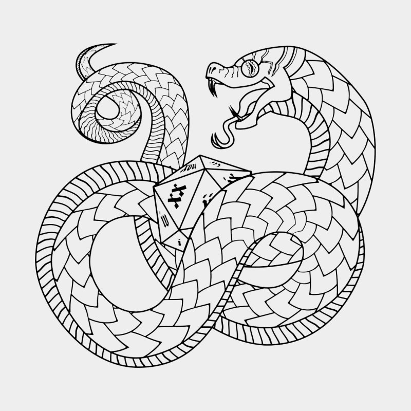 D20 Serpent (Black)   by Max Marcil Design & Illustration Shop