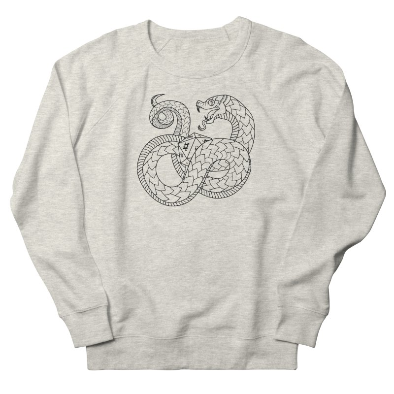 D20 Serpent (Black) Men's French Terry Sweatshirt by Max Marcil Design & Illustration Shop
