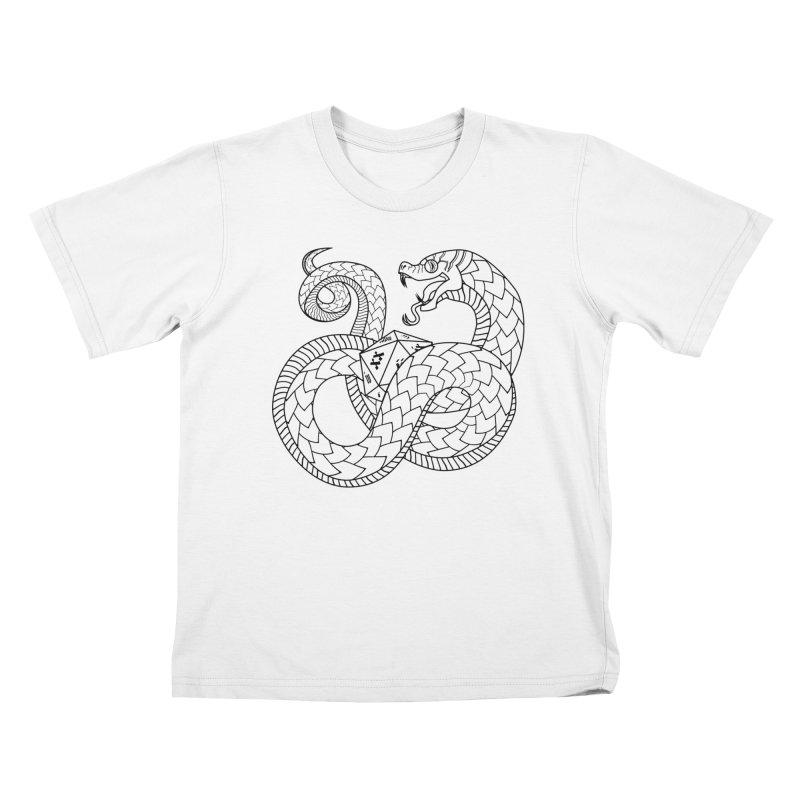 D20 Serpent (Black) Kids T-Shirt by Max Marcil Design & Illustration Shop