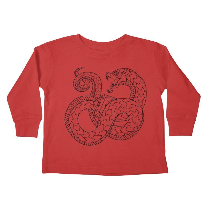D20 Serpent (Black) Kids Toddler Longsleeve T-Shirt by Max Marcil Design & Illustration Shop