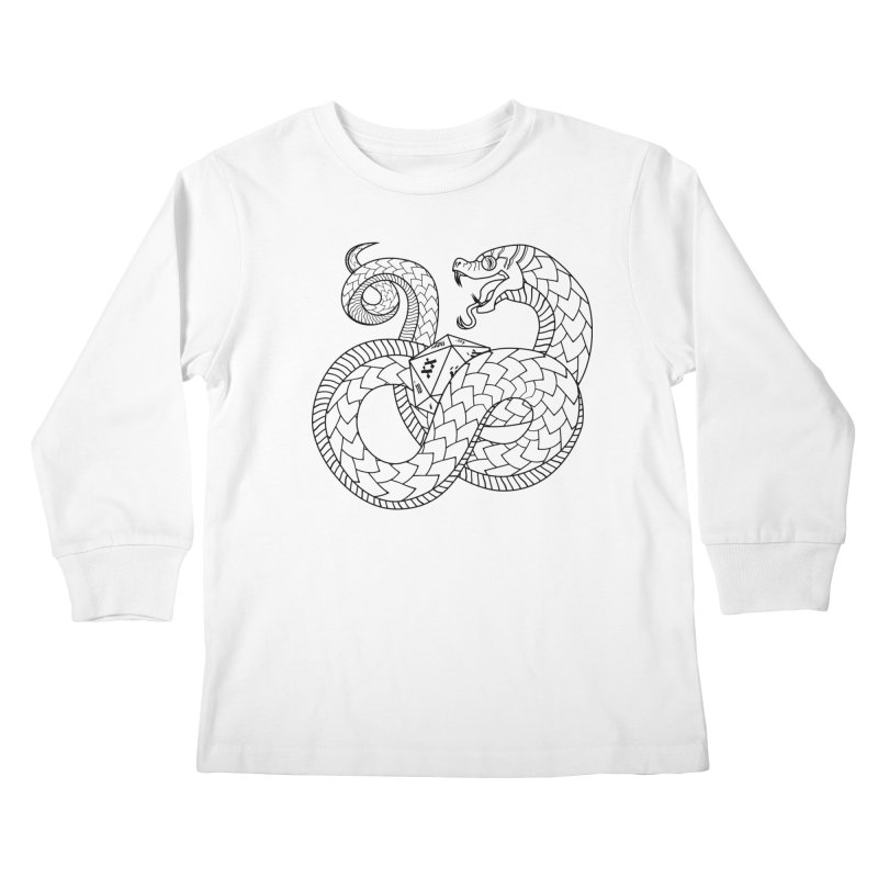 D20 Serpent (Black) Kids Longsleeve T-Shirt by Max Marcil Design & Illustration Shop