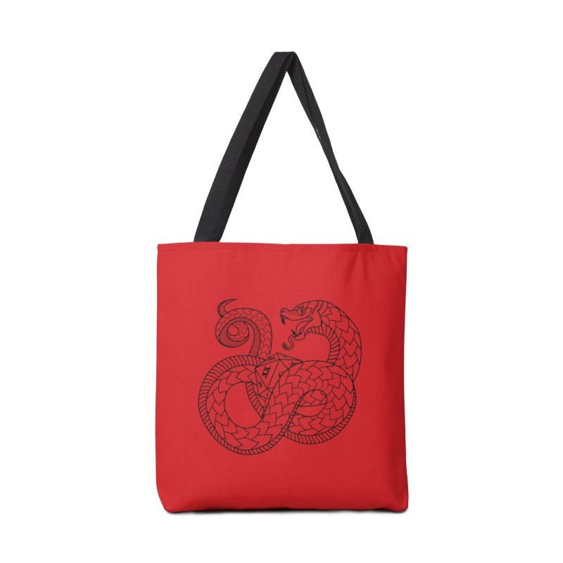 D20 Serpent (Black) Accessories Tote Bag Bag by Max Marcil Design & Illustration Shop