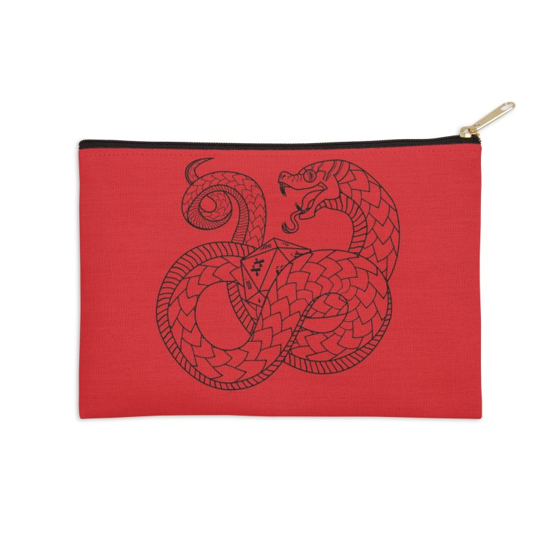 D20 Serpent (Black) Accessories Zip Pouch by Max Marcil Design & Illustration Shop