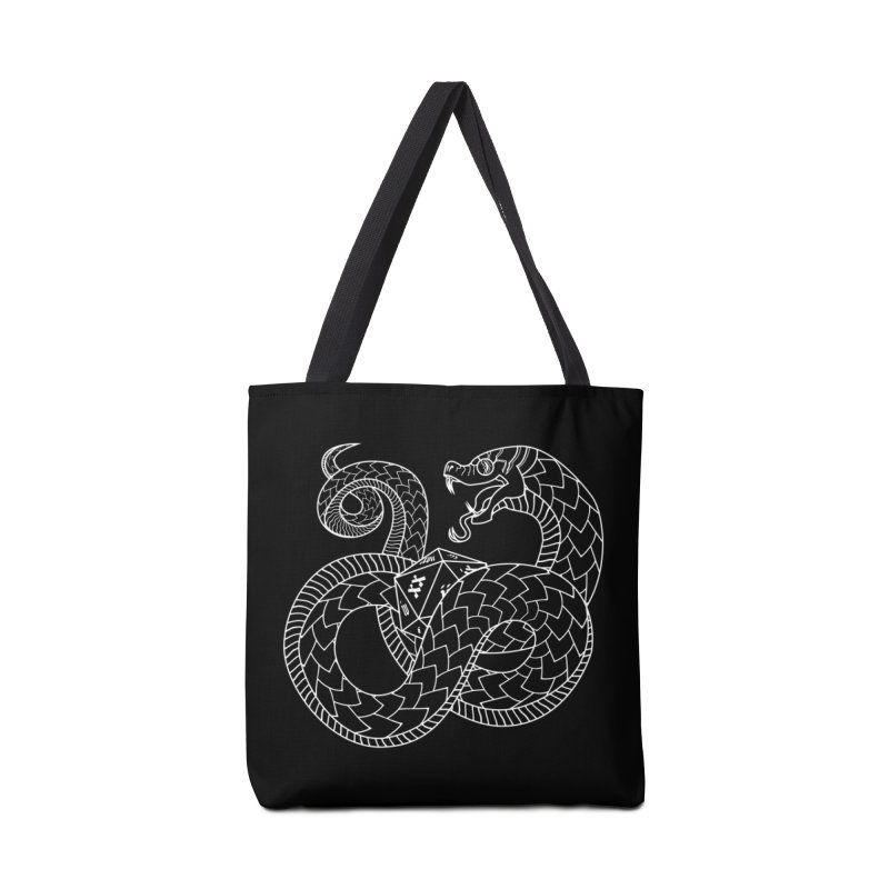 D20 Serpent (White) Accessories Tote Bag Bag by Max Marcil Design & Illustration Shop
