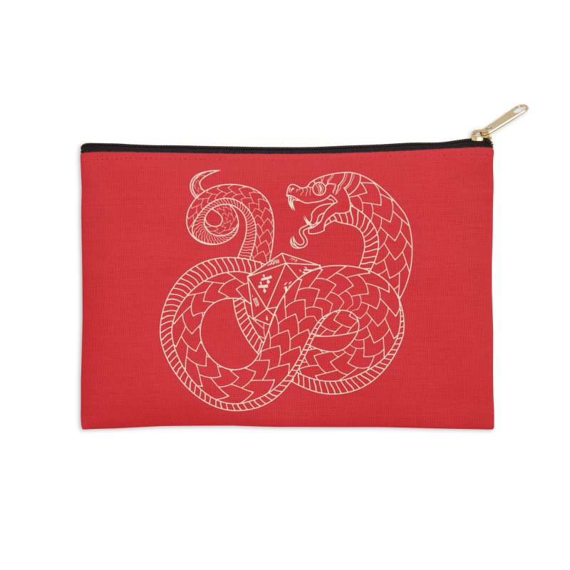 D20 Serpent (Cream) Accessories Zip Pouch by Max Marcil Design & Illustration Shop