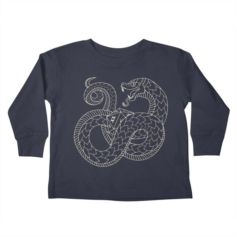 D20 Serpent (Cream) Kids Toddler Longsleeve T-Shirt by Max Marcil Design & Illustration Shop