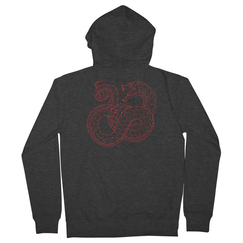 D20 Serpent (Red) Men's French Terry Zip-Up Hoody by Max Marcil Design & Illustration Shop