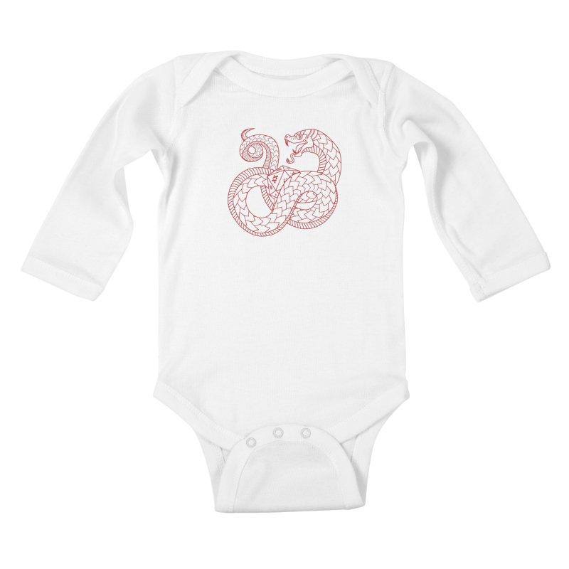 D20 Serpent (Red) Kids Baby Longsleeve Bodysuit by Max Marcil Design & Illustration Shop