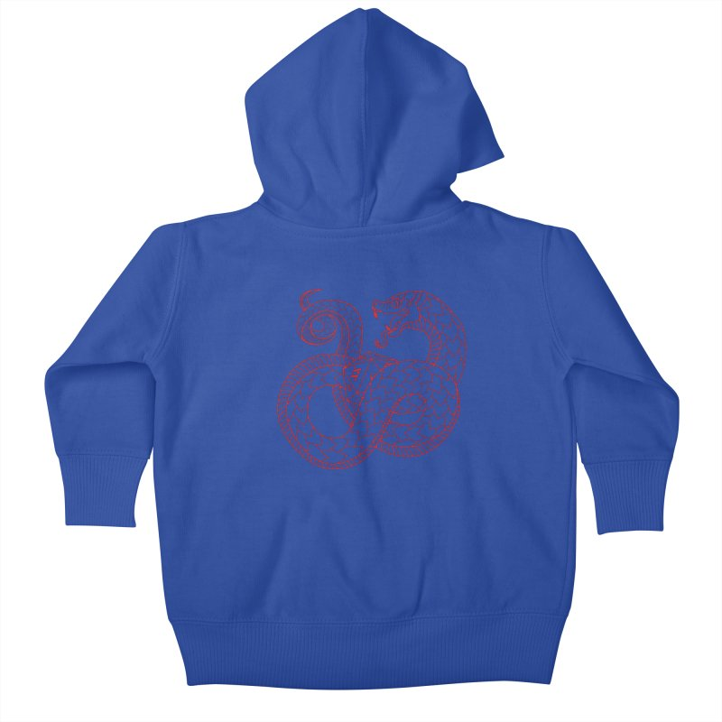 D20 Serpent (Red) Kids Baby Zip-Up Hoody by Max Marcil Design & Illustration Shop