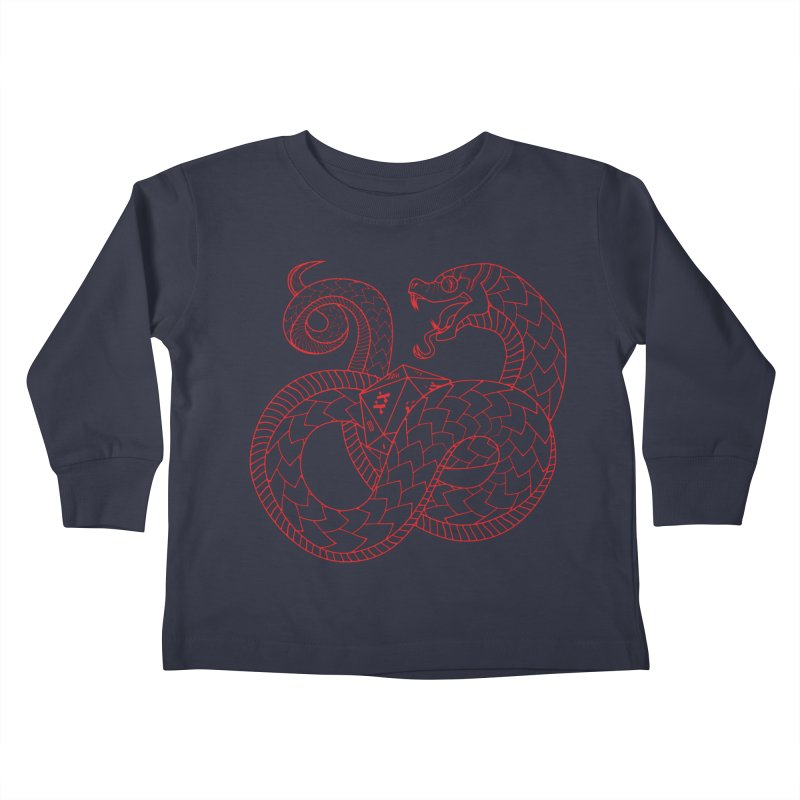 D20 Serpent (Red) Kids Toddler Longsleeve T-Shirt by Max Marcil Design & Illustration Shop