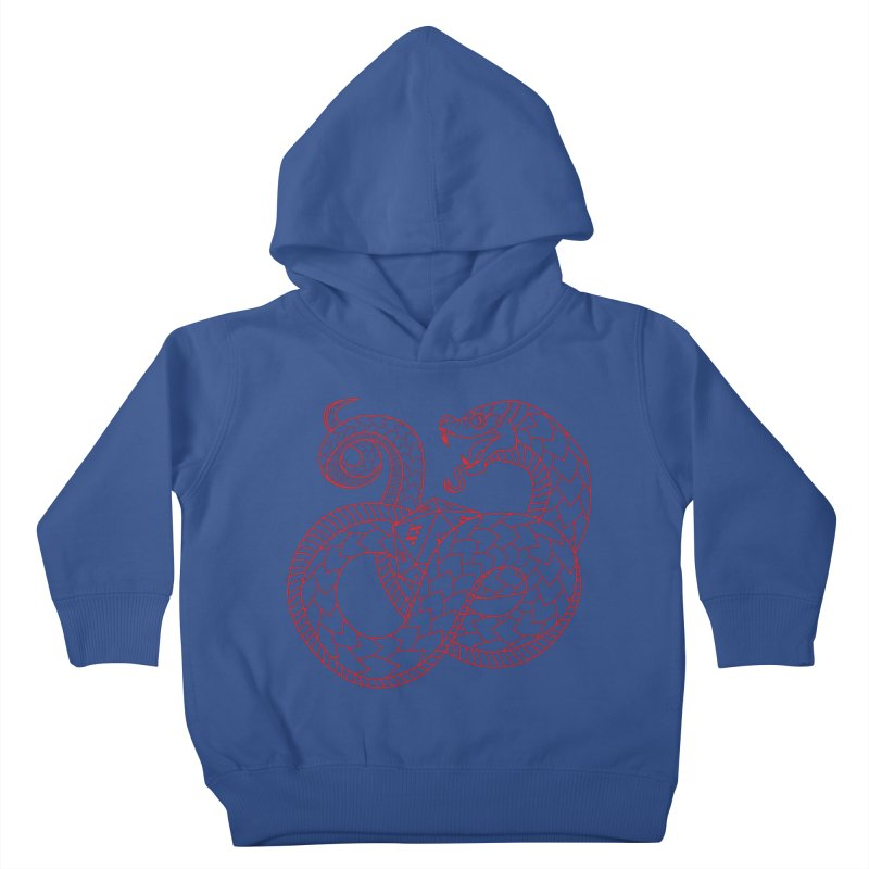 D20 Serpent (Red) Kids Toddler Pullover Hoody by Max Marcil Design & Illustration Shop
