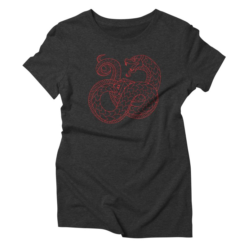 D20 Serpent (Red) Women's Triblend T-Shirt by Max Marcil Design & Illustration Shop