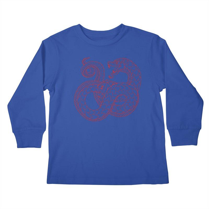D20 Serpent (Red) Kids Longsleeve T-Shirt by Max Marcil Design & Illustration Shop