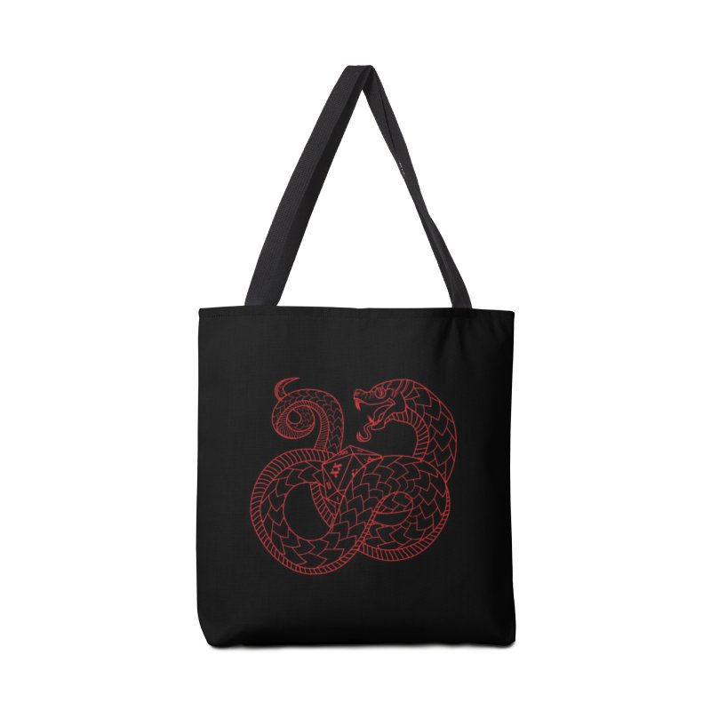 D20 Serpent (Red) Accessories Tote Bag Bag by Max Marcil Design & Illustration Shop