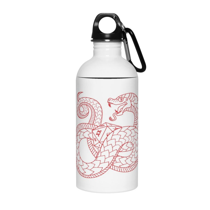 D20 Serpent (Red) Accessories Water Bottle by Max Marcil Design & Illustration Shop
