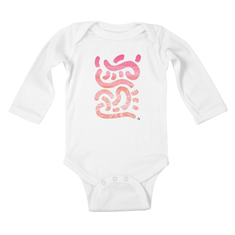 Wiggles (Pink Waves) Kids Baby Longsleeve Bodysuit by Max Marcil Design & Illustration Shop