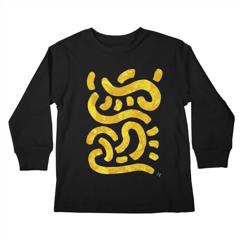 Wiggles (Yellow Lichen) Kids Longsleeve T-Shirt by Max Marcil Design & Illustration Shop