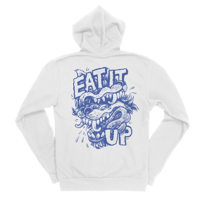 Eat It Up (Blue) Men's Sponge Fleece Zip-Up Hoody by Max Marcil Shop