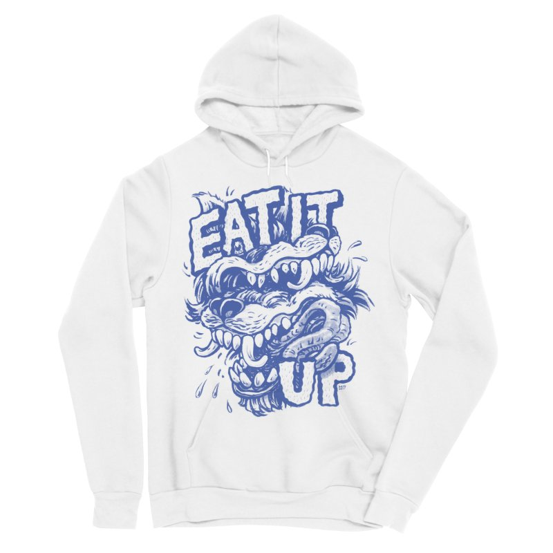 Eat It Up (Blue) in Women's Sponge Fleece Pullover Hoody White by Max Marcil Shop