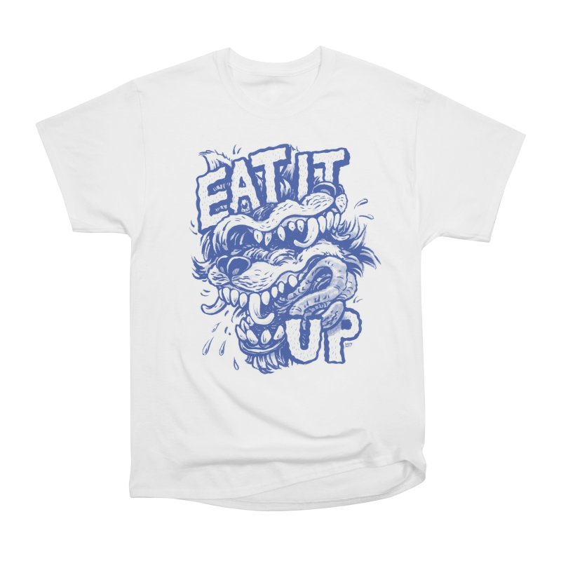 Eat It Up (Blue) Women's Heavyweight Unisex T-Shirt by Max Marcil Design & Illustration Shop