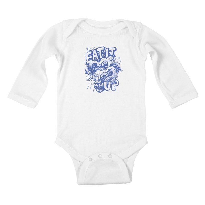 Eat It Up (Blue) Kids Baby Longsleeve Bodysuit by Max Marcil Design & Illustration Shop