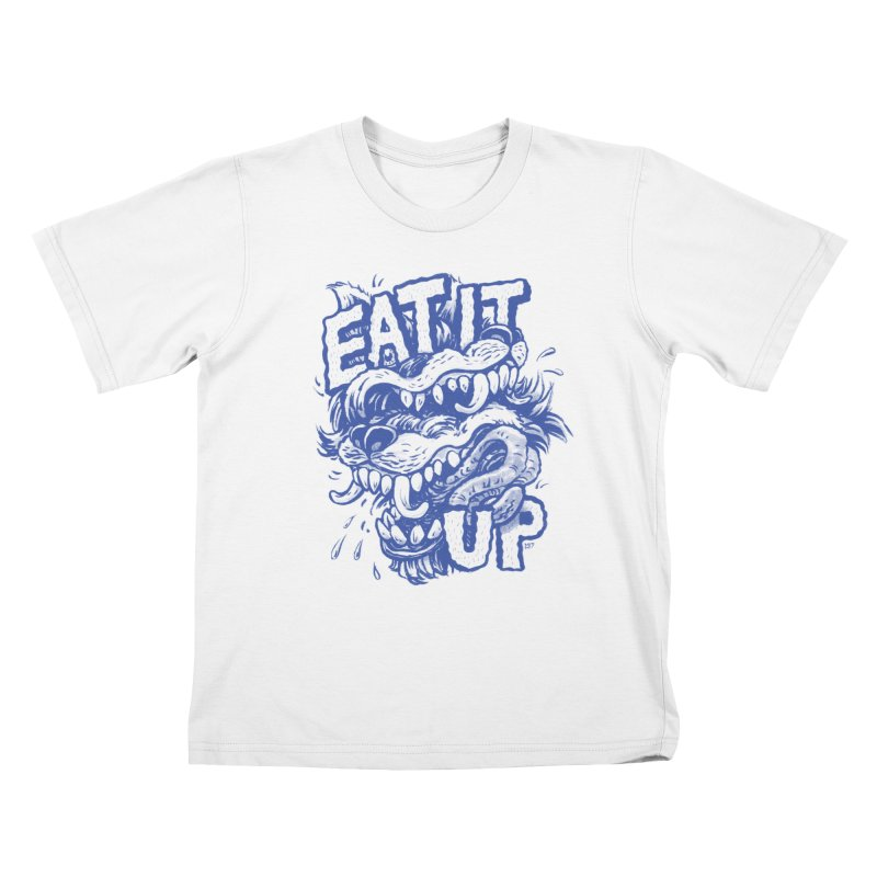 Eat It Up (Blue) Kids T-Shirt by Max Marcil Shop