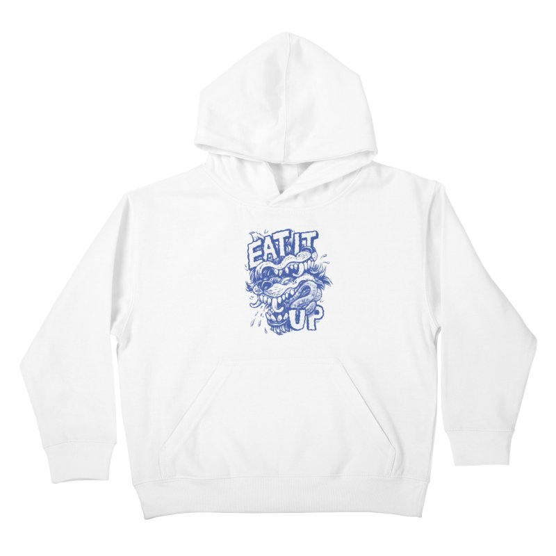 Eat It Up (Blue) Kids Pullover Hoody by Max Marcil Design & Illustration Shop